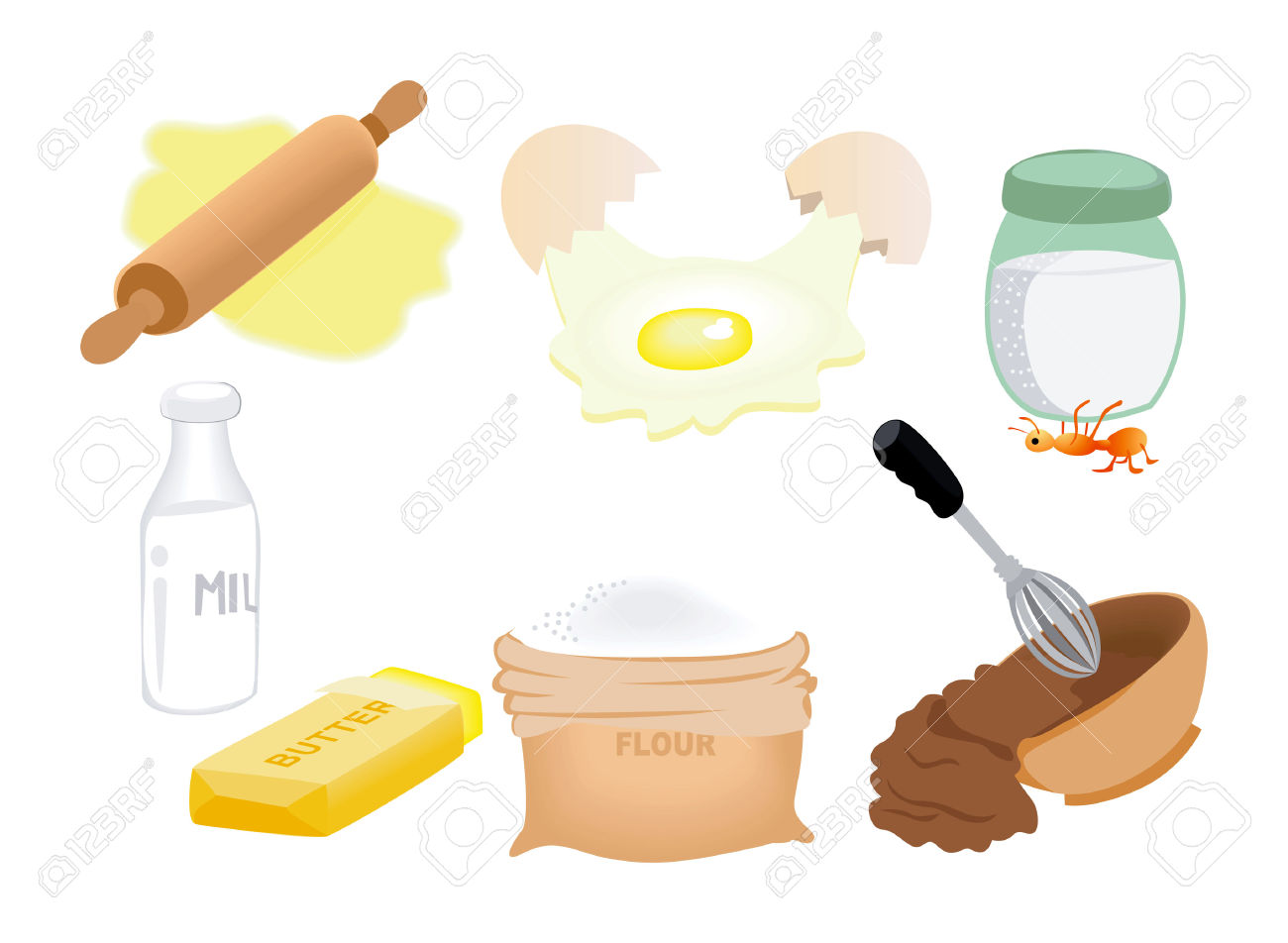 Baking clipart mix ingredient Ingredients Royalty Clipart Cliparts baking