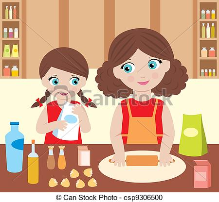 Baking clipart mother daughter With cook Clipart Mother Vector