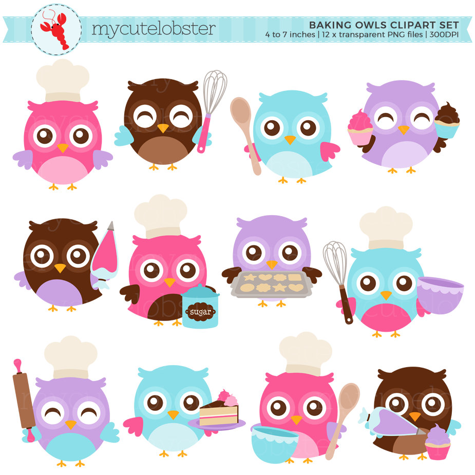 Baking clipart owls Card set whisk Clipart Owls