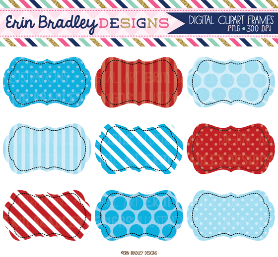 Baking clipart red frame Designs: scalloped Red Blue Erin