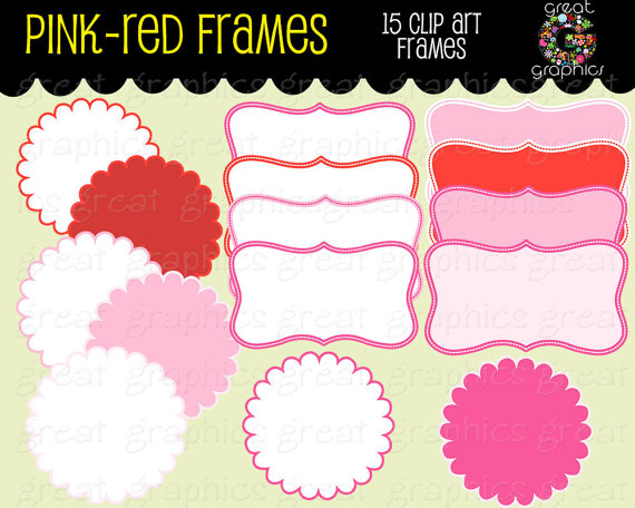 Decoration clipart pink party Printable Red Digital Frames and