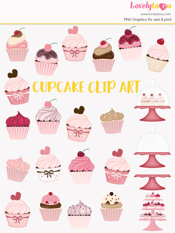Baking clipart sweet treat  cherry cupcake clip on