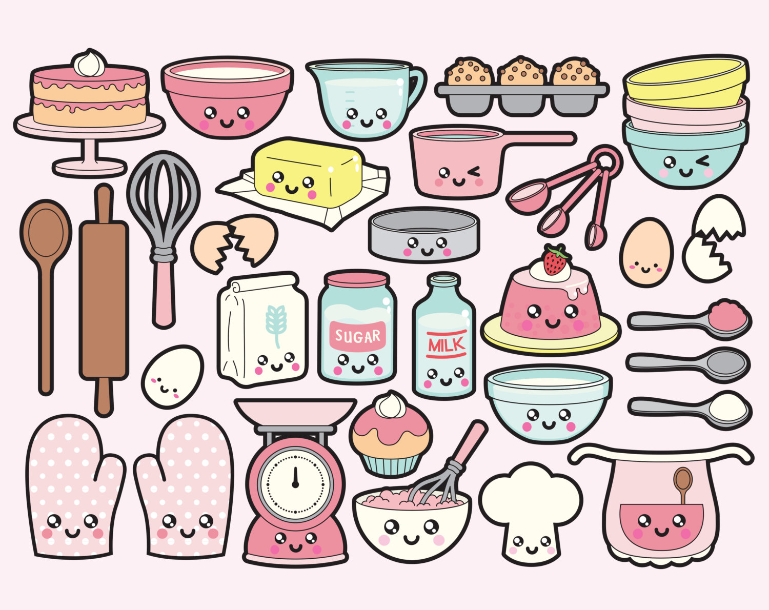 Baking clipart vector Vector Kawaii Premium Vector Clipart