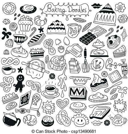 Baking clipart vector Sweet icons doodles baking set