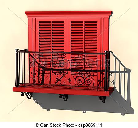 Balcony clipart Red balcony Clipart visualisation in