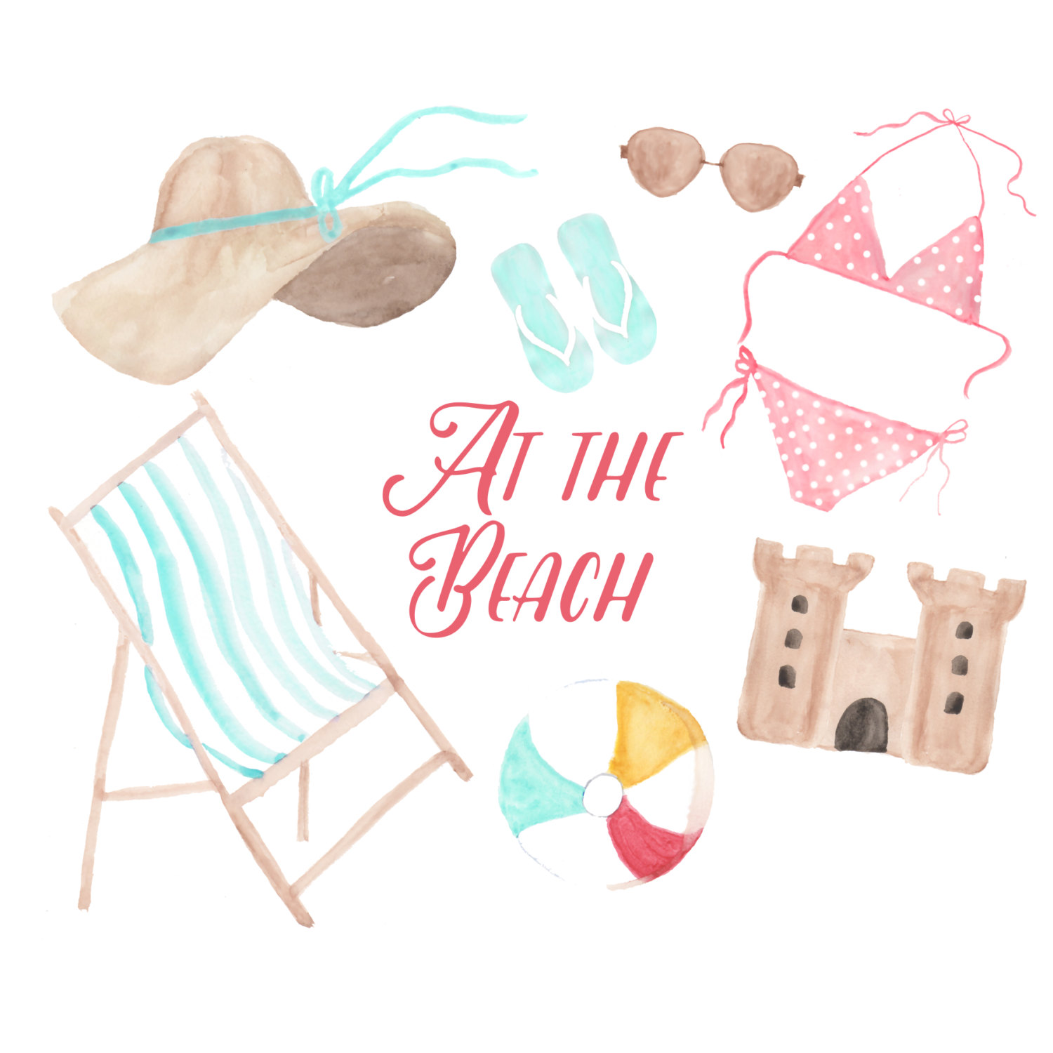 Bikini clipart beach sunglass Summer beach clipart beach illustration