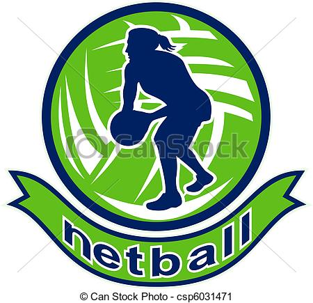 Ball clipart netball ball Illustration jumping player Netball of