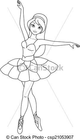 Ballerina clipart coloring #15