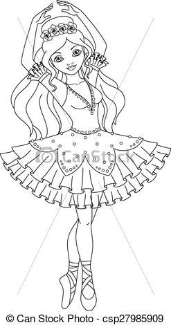 Ballerine clipart coloring #5
