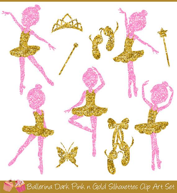 Ballerine clipart gold Pink Ballerina Silhouettes  Clipart