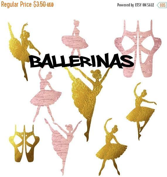 Ballerine clipart gold Rose foil ballet gold ballerina