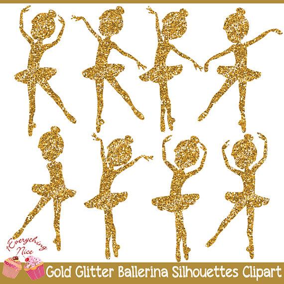Ballerine clipart gold Gold 2 Ballerina Glitter Clipart