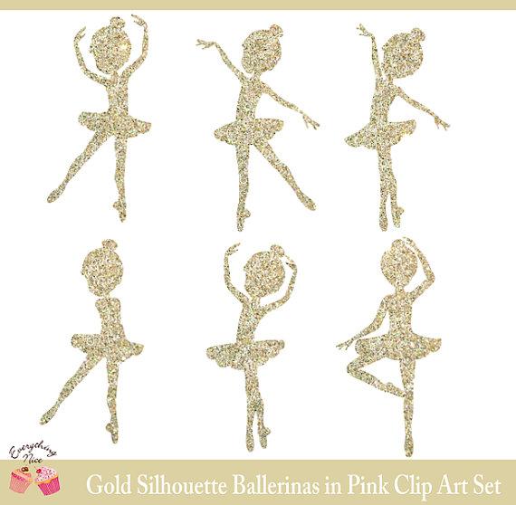 Ballerine clipart gold Gold Pink Silhouettes Ballerina Clipart