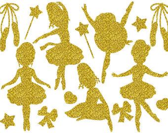 Ballerine clipart gold Gold Digital Glitter Ballerina clipart