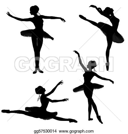 Ballerina clipart poses  in various silhouettes Stock