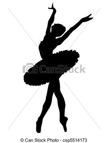 Ballet clipart black and white Silhouette dancer on Black the