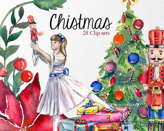 Ballet clipart christmas Art Watercolor Christmas Nutcracker Tree