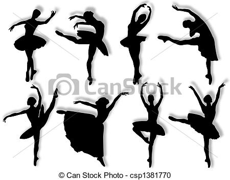 Ballerina clipart poses Classical Illustration different Stock
