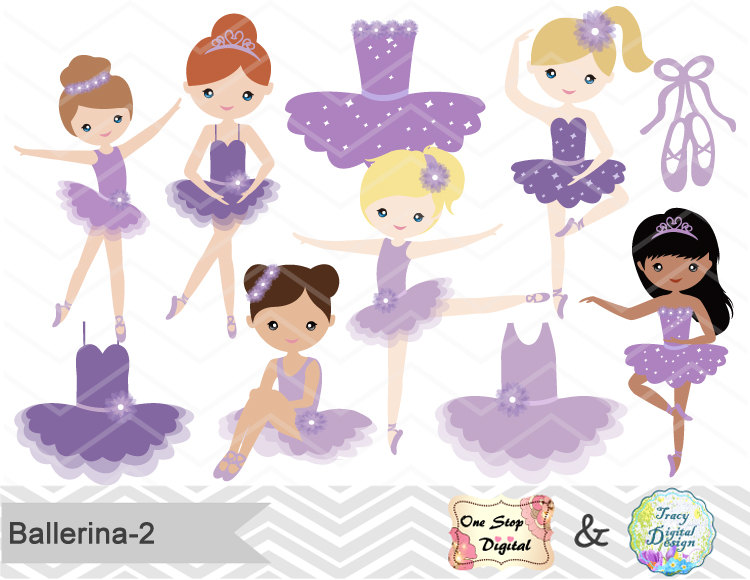 Ballet clipart cute ballerina Purple Digital Girl digital
