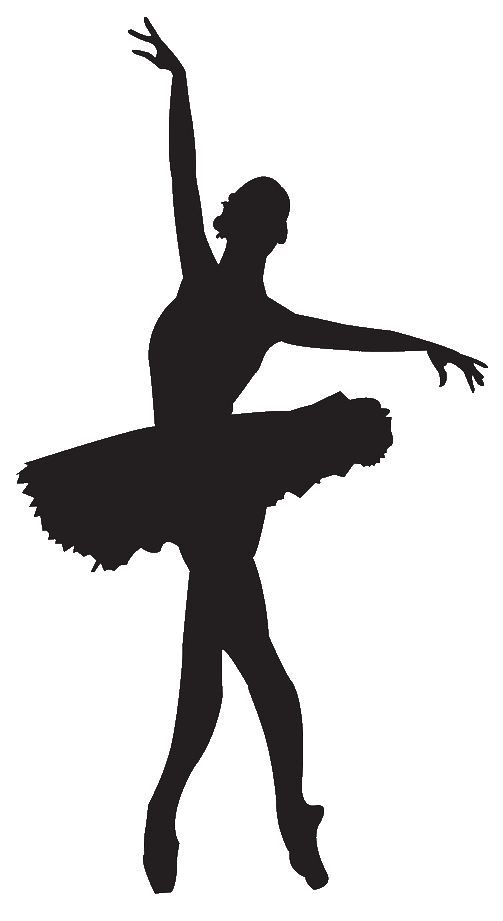 Drawn ballerina outline A silhouette card Best pink