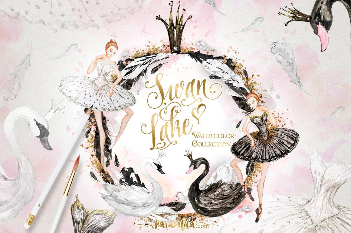 Ballet clipart swan lake Black Illustration Ballerina digital White