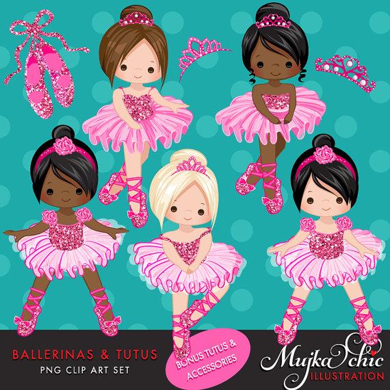 Ballet clipart tiara Pink digital Ballerinas a Clipart