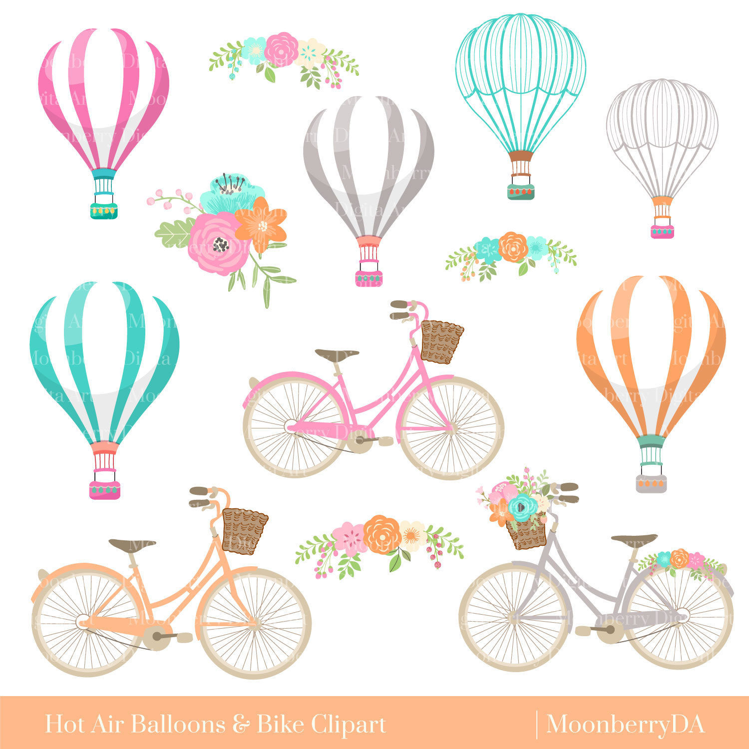 Balloon clipart bicycle Hot a digital Floral Clipart