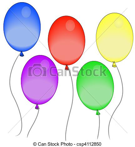 Balloon clipart five Air colorful floating in colorful