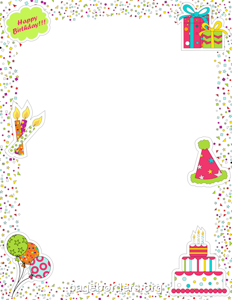 Balloon clipart page border Vector Free Borders Birthday Borders: