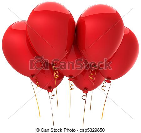 Balloon clipart seven Red  Seven Stock red
