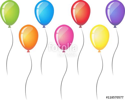 Balloon clipart seven Icon Vector white  ribbon