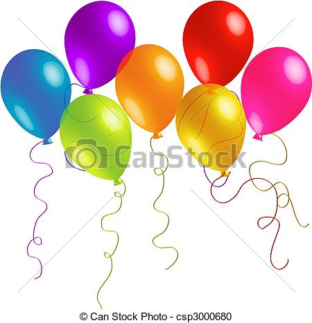 Balloon clipart seven Birthday Long Clipart Ribbons with