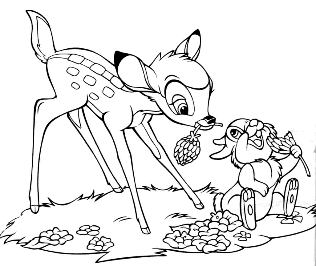 Bambi clipart coloring page Kids Bambi Page Art