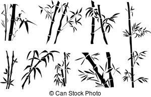 Drawn bamboo Bamboo and Bamboo twigs Illustrations