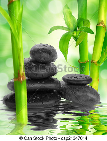 Bamboo clipart spa Spa bamboo black stones and