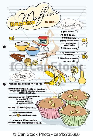 Banana clipart banana muffin Of recipe pictures  Vector