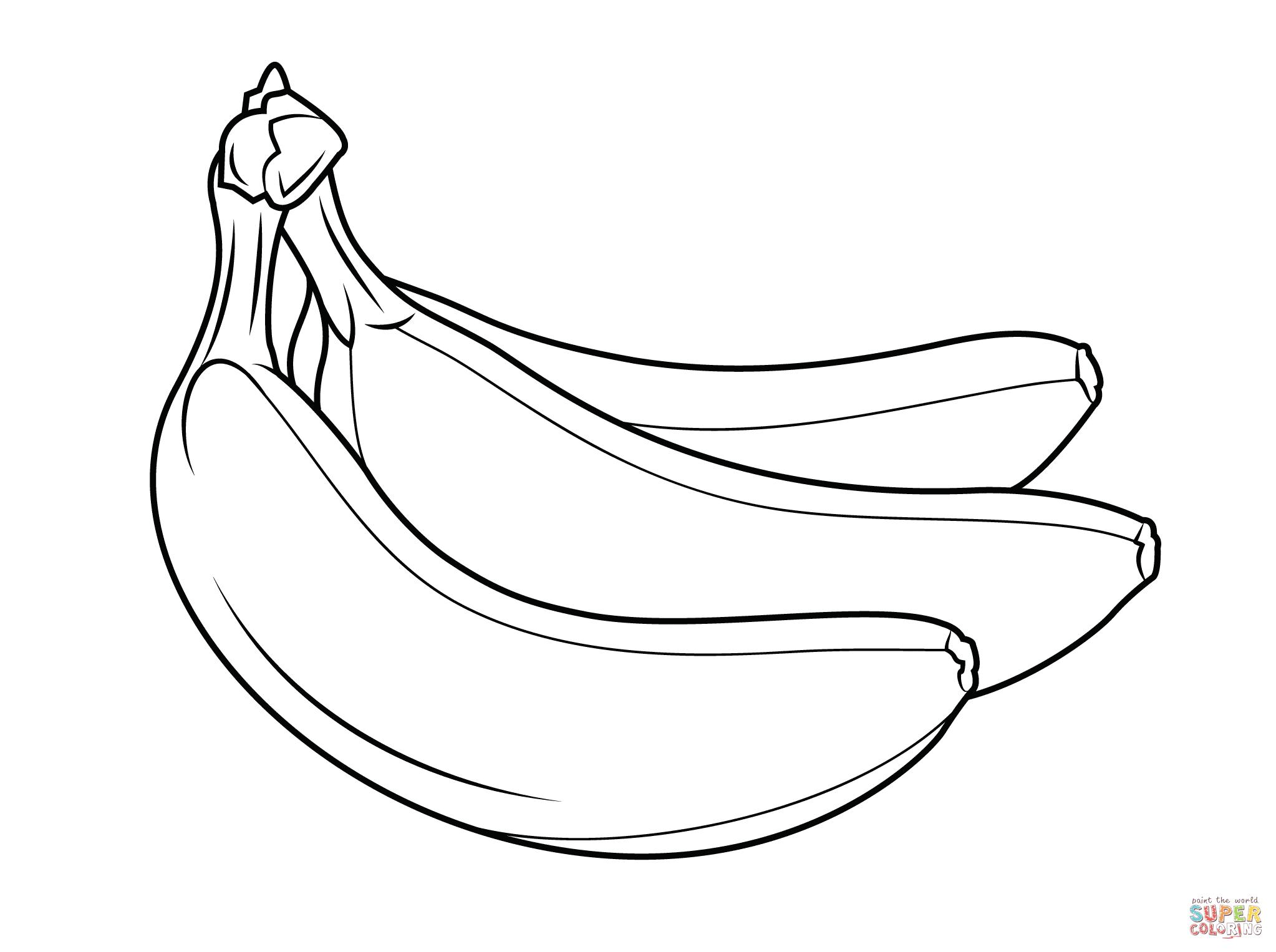 Banana clipart blank Printable coloring of Coloring bananas