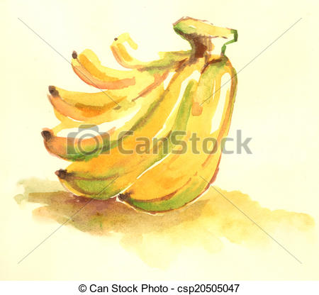 Banana clipart color yellow With Drawing Water illustration of