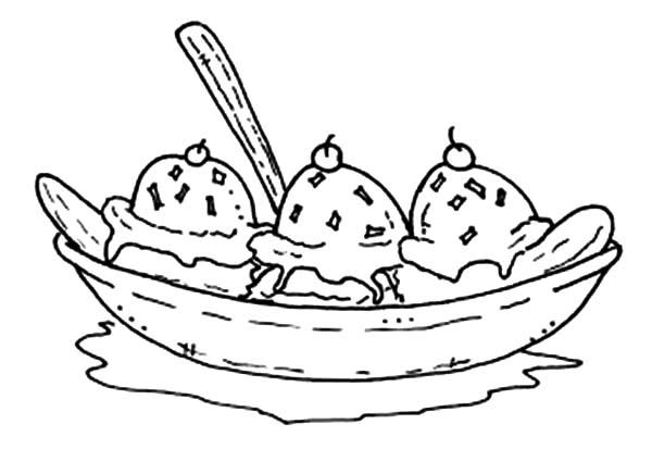 Banana Split clipart simple Coloring  Split Unknown #2838