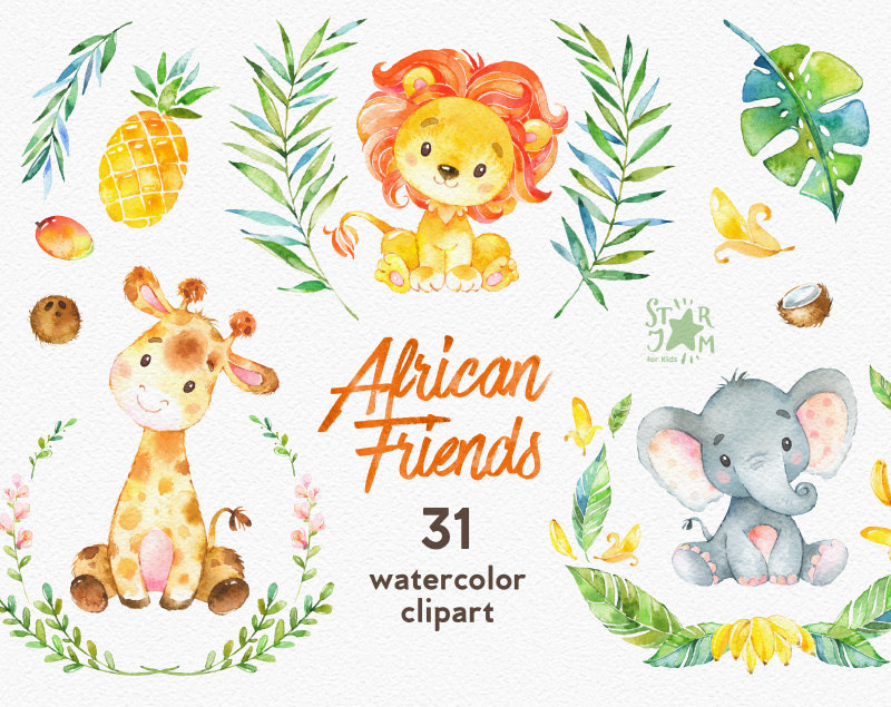 Banana clipart elephant Digital African file a is