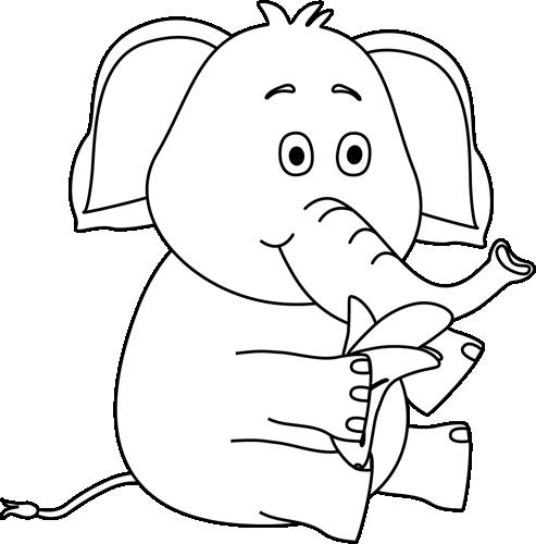 Banana clipart elephant Elephant a Eating White and