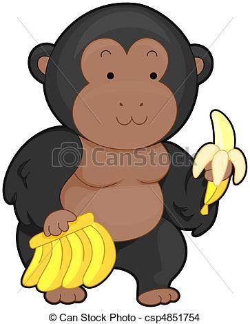 Banana clipart gorilla Carrying  of Gorilla Cute