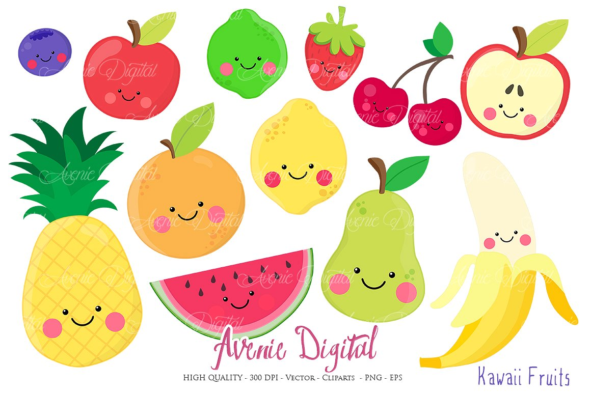 Lemon clipart face On Market Vectors Creative Kawaii