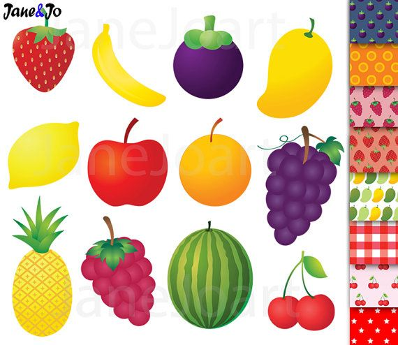 Banana clipart mix fruit Clipart strawberry clip Fruit orange