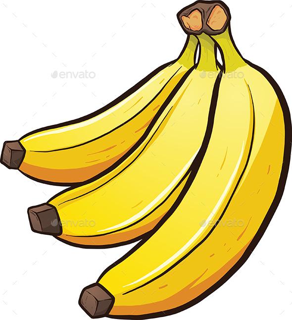 Banana clipart yellow object Bananas memoangeles GraphicRiver Objects Cartoon