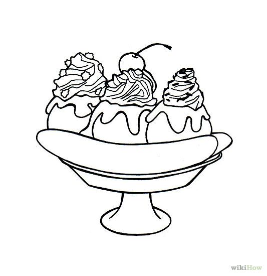 Banana Split clipart simple In Page  Split Coloring
