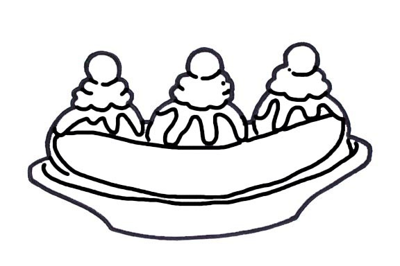 Banana Split clipart simple Cutter Black White And Banana