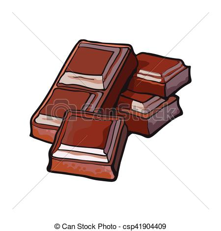 Bar clipart dark chocolate Pieces isolated of isolated of