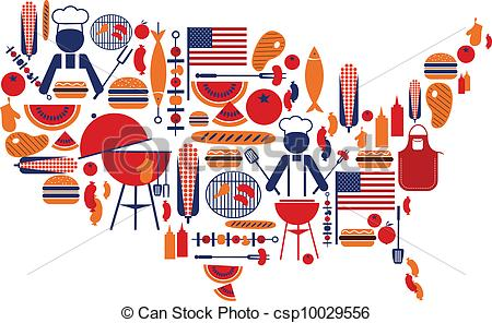 Barbecue clipart 4th july Icons csp10029556 Clipart of Vector