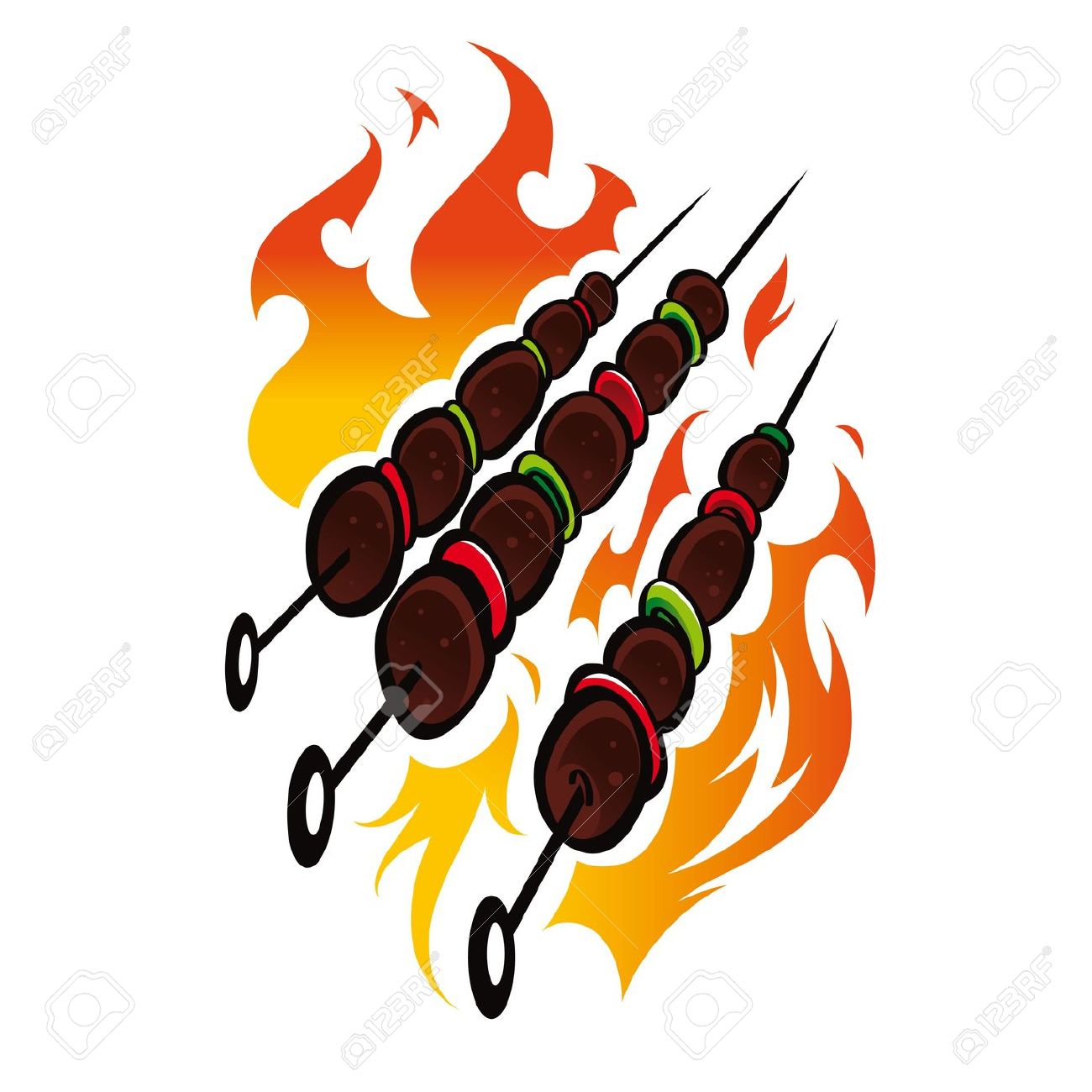 Bonfire clipart camping trip Clipart Skewers Flames The woman